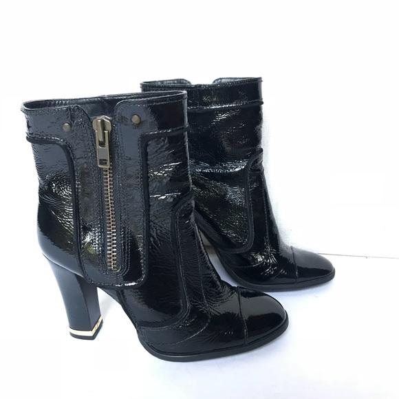 Gianni Bini Black Patent Leather Ankle